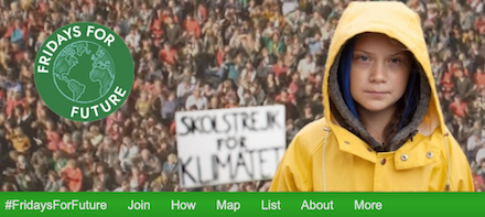 #FridaysForFuture A movement that began in August 2018, after 15-year-old Greta Thunberg sat in front of the Swedish parliament every schoolday for three weeks, to protest against the lack of action on the climate crisis.