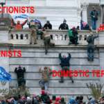 Capitol Hill insurrectionists / domestic terrorists, ironically climbing a wall, while standing with and for a party, GOP, that fought repeatedly to eliminate their healthcare. Fall awayyyy... jackasses...